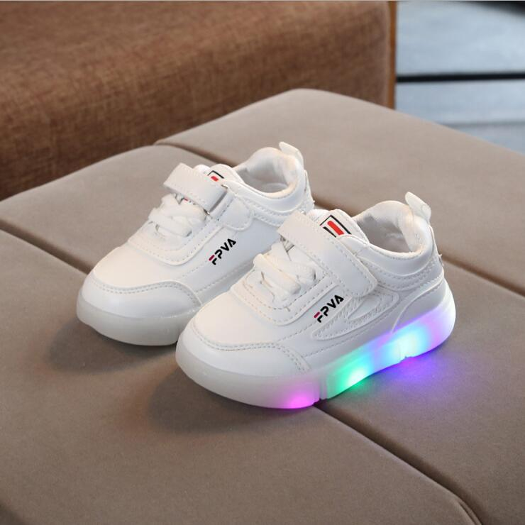 Hook-Loop LED Lighted Comfortable Sports Sneakers Children Girls Boys Casual Shoes Tennis Kids Sneakers Fashionshoe Stylish