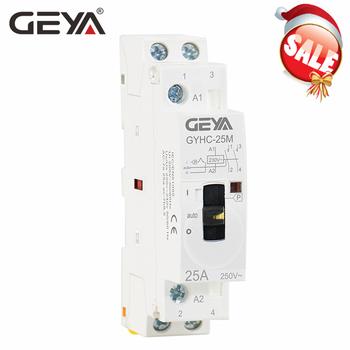 Stycznik ręczny GEYA 2P 16A 20A 25A 2NO lub 2NC 220V 50 60Hz sterowanie ręczne do użytku domowego stycznik prądu przemiennego typ szyny Din tanie i dobre opinie Other GYHC Modular Contactor Manual