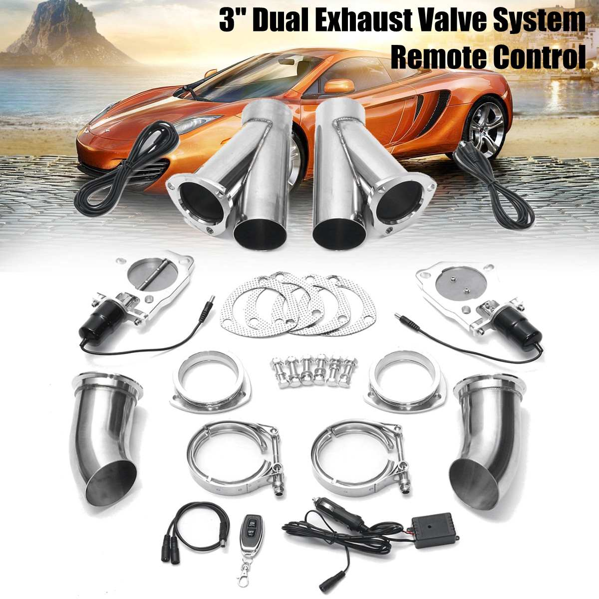 3 Inch 76mm Car Electric Exhaust Muffler Valve Cutout E-Cut System Dump Wireless Remote W/ Gear Driven Motor