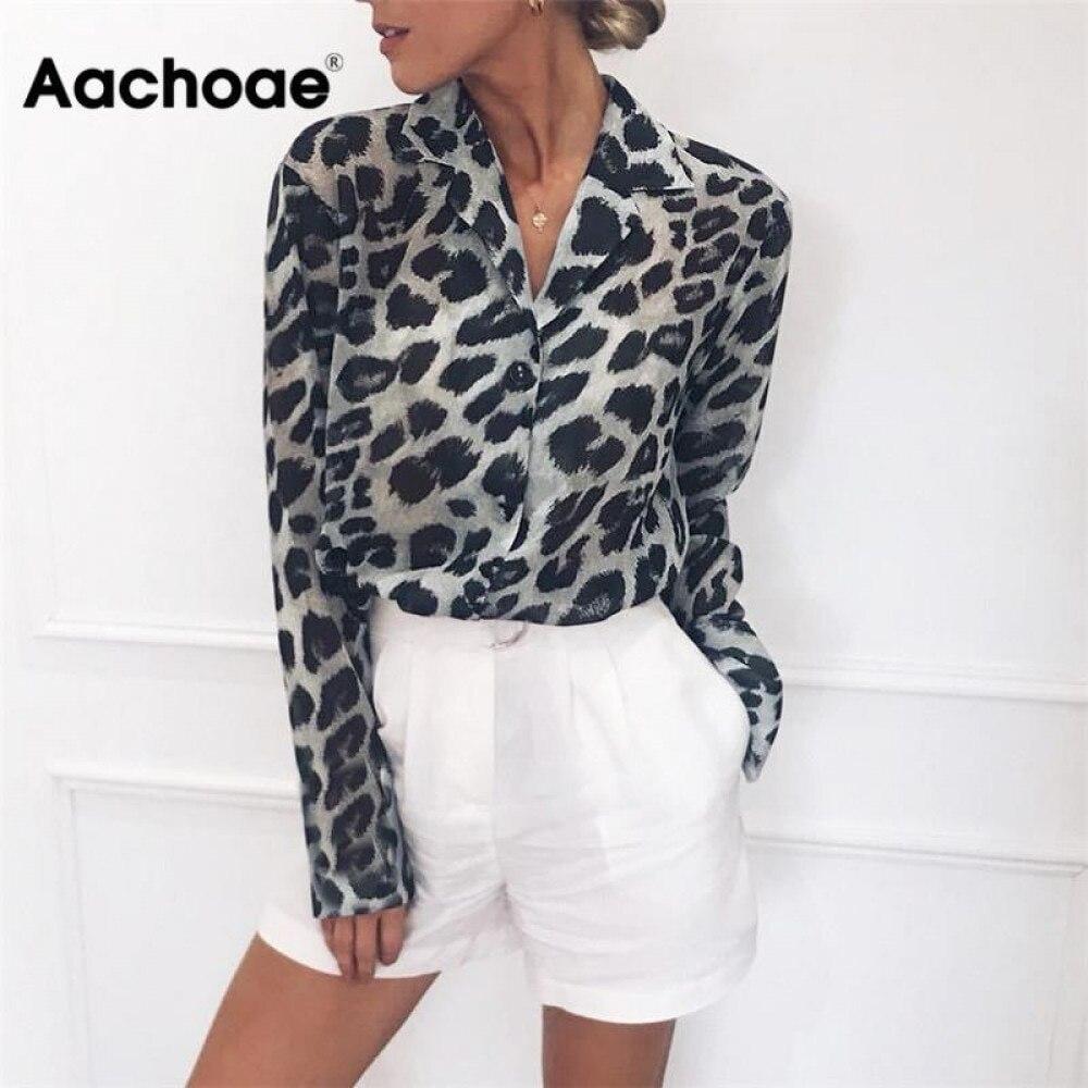 Aachoae bluzka Vintage z długim rękawem wzór w cętki bluzka skręcić w dół kołnierz koszula biurowa tunika luźne topy na co dzień Plus rozmiar Blusas