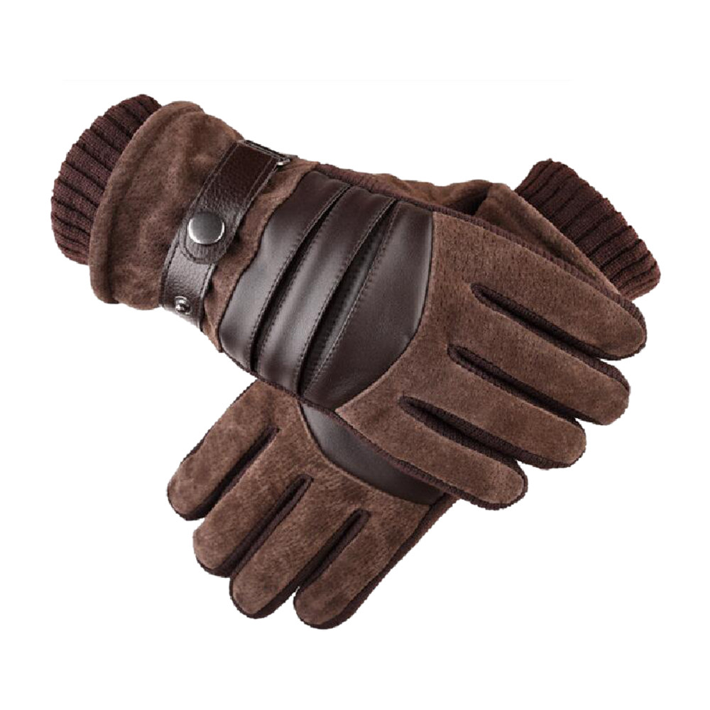 Winter Gloves Men 2019 Fashion Windproof Waterproof Outdoor Activities Bicycle Pigskin Plus Velvet Thickening Warm Gloves