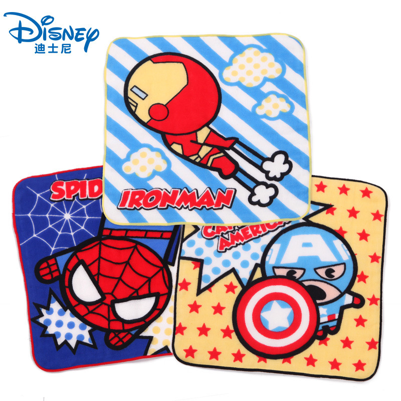 Disney Marvel Captain America Iron Man <font><b>Spiderman</b></font> Cartoon cotton gauze <font><b>towel</b></font> boy girl baby soft breathable absorbent handkerchief image