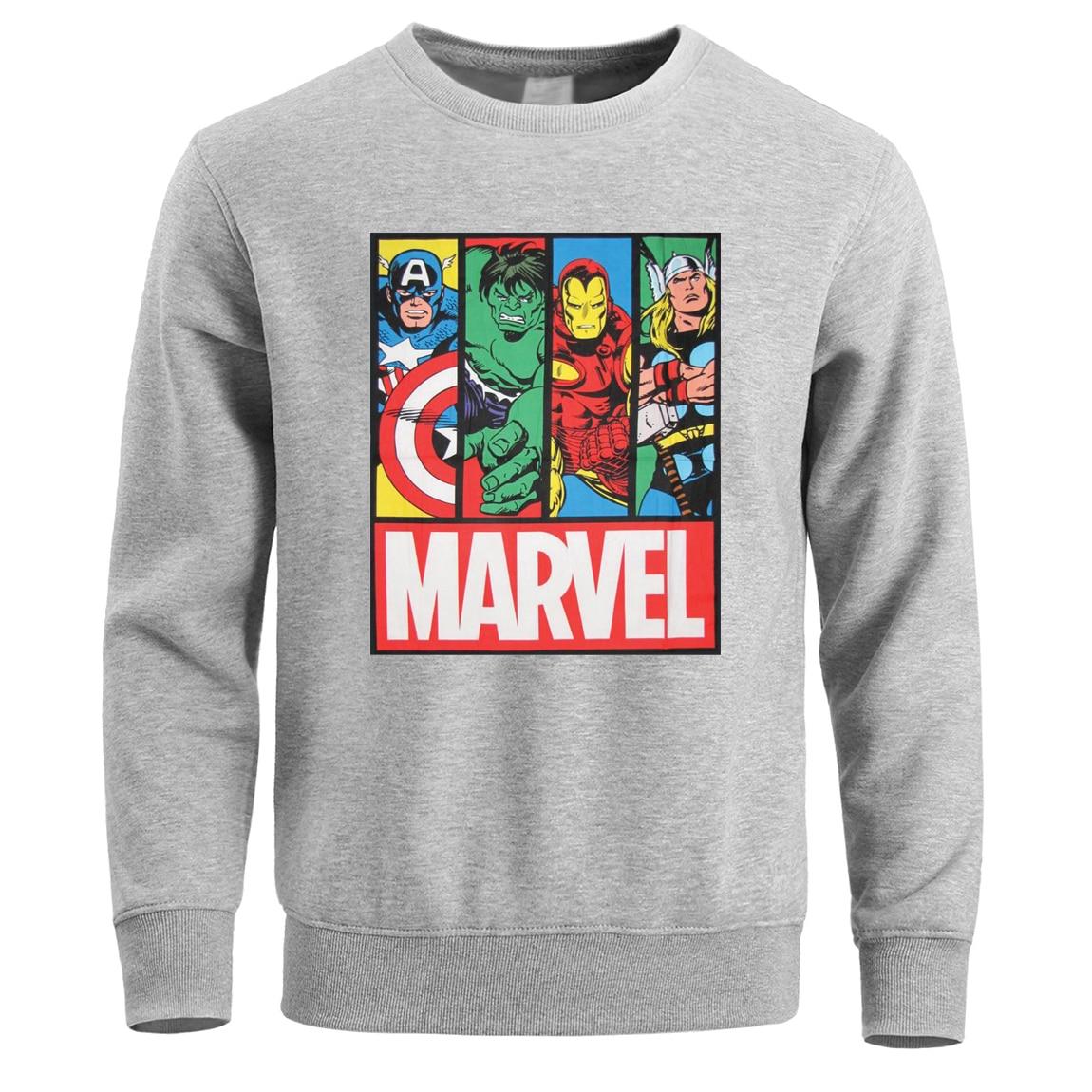 Marvel Hoodies Sweatshirt Thor Hulk Superman Iron Man Superhero Hoodie Men Pullover Sweatshirts Fleece Warm Super Hero Crewneck