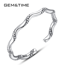Gem&Time 925 Sterling Silver Retro Open Cuff Ring For Women Vintage Twisted Round Stackable Rings Finger Jewelry Gift SR0135