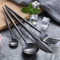 Service de couverts de noël noir, 24 pièces, vaisselle de mariage, fourchettes, cuillères, couteaux, ensemble de boules, en acier inoxydable 304