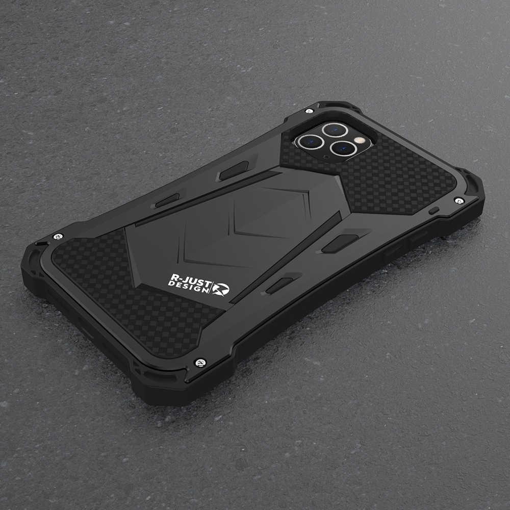 R-JUST Per Il Iphone 11 11Pro Max di Lusso Doom Armatura Duty Antiurto Alluminio Del Metallo Del Telefono Custodie Per Il Iphone 11 Pro max XS XR 7 8 più