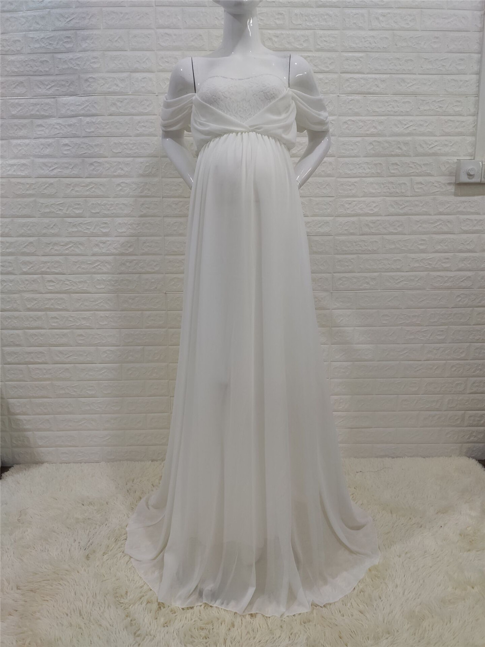 Shoulderless Sexy Maternity Dress Photo Shoot Long Pregnancy Dresses Photography Props Lace Chiffon Maxi Gown For Pregnant Women (13)