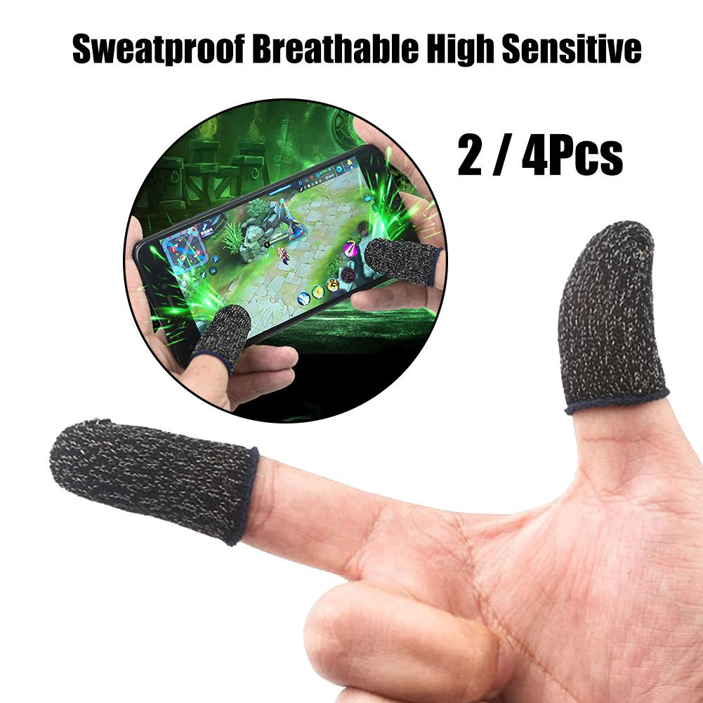 2/4Pcs Breathable Game Controller Finger Cover Sweat Proof Gaming Finger Gloves Non-Scratch Sleeve Sensitive Fiber Mobile Touch