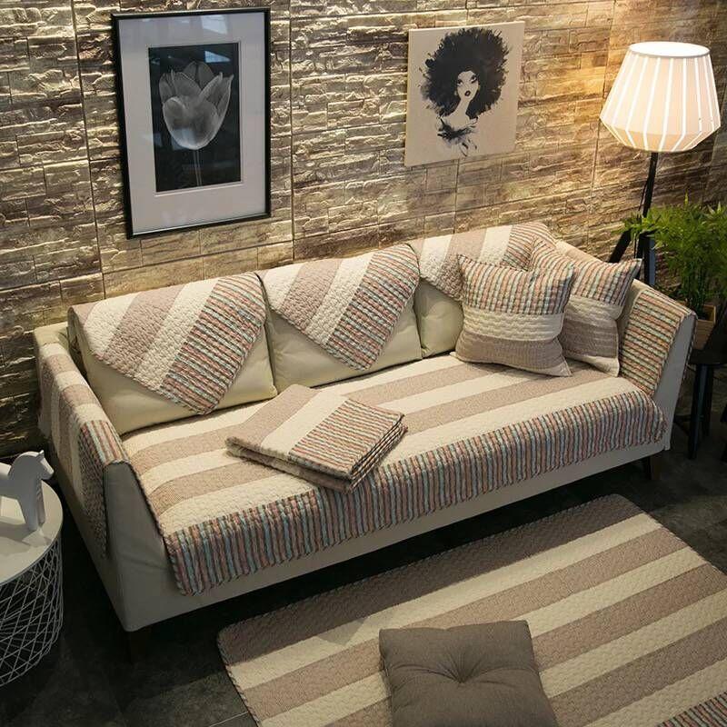Хлопковое покрывало для дивана в полоску, нескользящий чехол из плюшевой ткани в современном стиле, угловой коврик для полотенец|Чехлы для диванов| | АлиЭкспресс