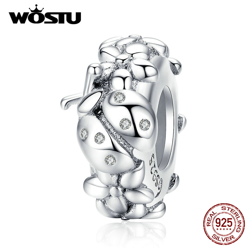 WOSTU 925 Sterling Silver Ladybug Flower Silicone Stopper Beads Spacer Charm Fit Original Bracelet Pendant Fine Jewelry CTC112