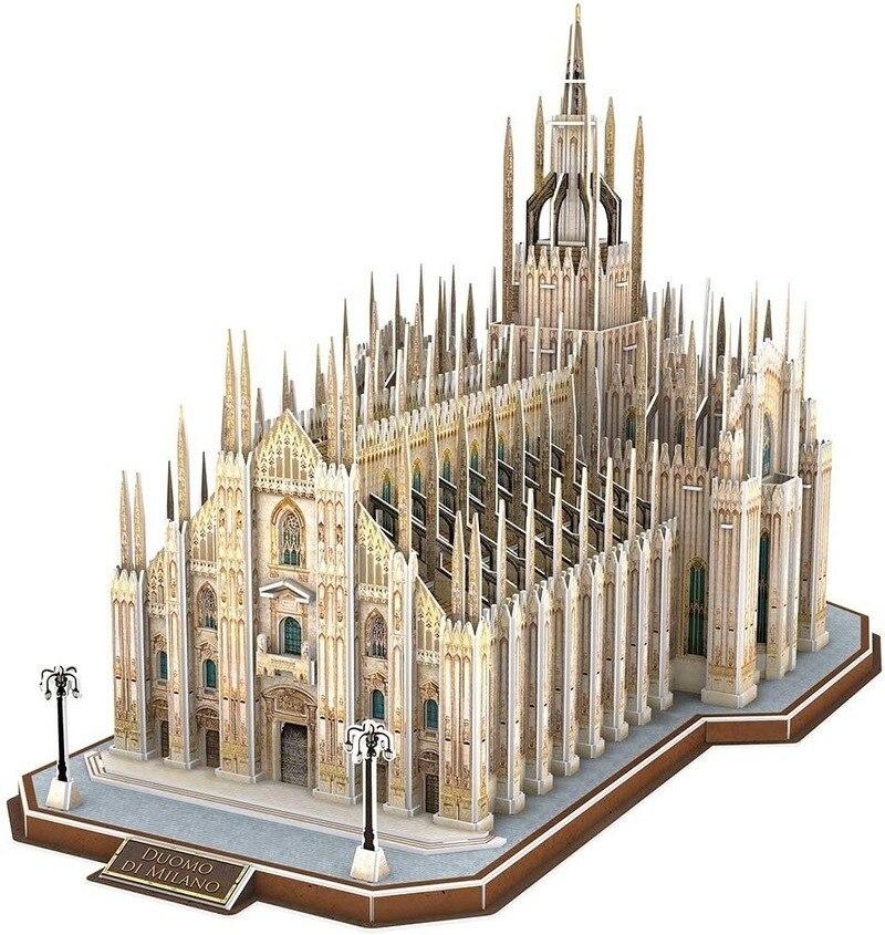Bricolage 3D italie Duomo Di Milano Puzzles cathédrale Architectures église bâtiment modèle jouets à la main adulte Puzzle jeu meilleur cadeau