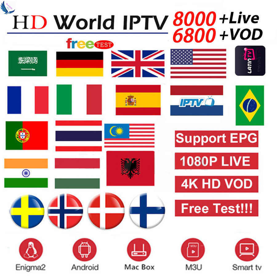 8000 Live Channels Europe IPTV Subscription Rocksat France UK German Arabic Dutch Sweden French Poland Portugal Smart TV IPTV