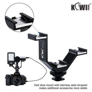 Image 2 - KIWI Triple Cold Shoe V Bracket Holder for Canon Nikon Sony Fujifilm Olympus Camera Microphone LED Light Flash Remote Receiver