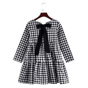 Image 3 - Brand 2020 Autumn New Girls Dresses Children Cotton Dress Kids Plaid Dress Bow Baby Girls Cotton Dress Toddler Clothes,#2787