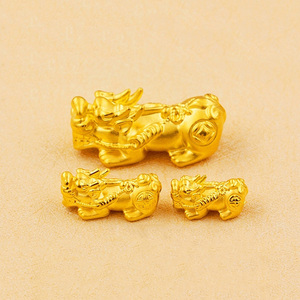 Real 999 24K Yellow Gold Jewelry 3D Craft Luck Bless Coin Pixiu Bead 0.2-1.5g