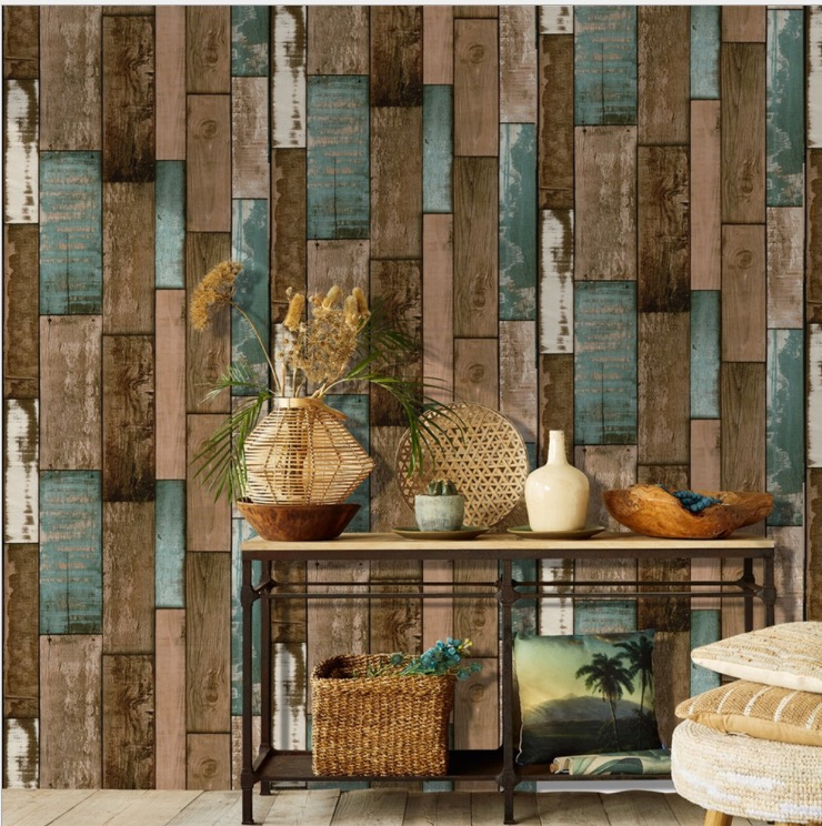 10M Of Retro Wood Wallpaper Self-adhesive Industrial Style Furniture Renovation Sticker Bedroom Background Wall Papel De Parede