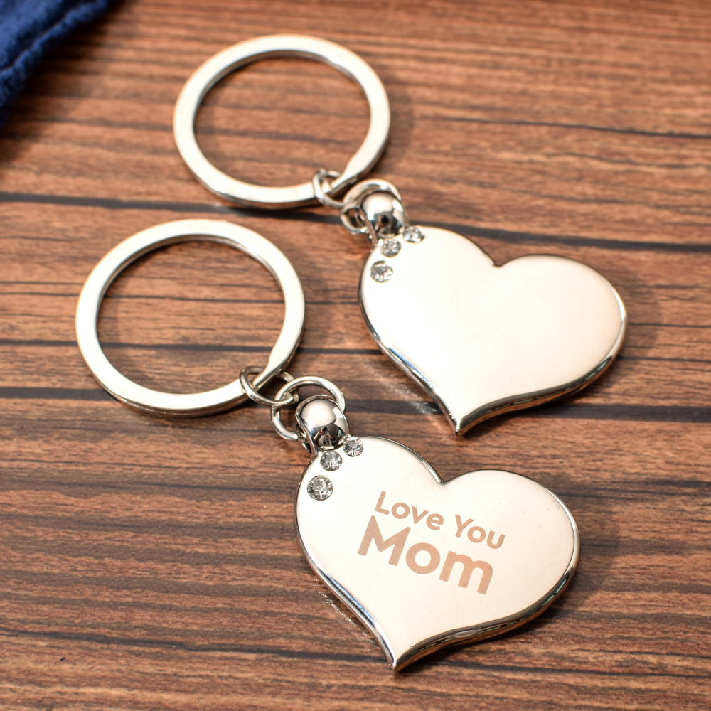 Vicney Love Heart Rhinestone Key Ring LOVE YOU Mom Portable Keychain Mothers Pendant Blank For Mother's Day Gifts Fine Key Chain