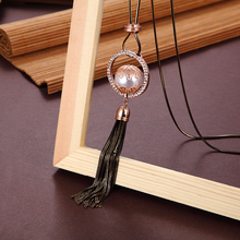 necklace ladies pearl pendant winter long tassel women sweater jewelry wild temperament accessories