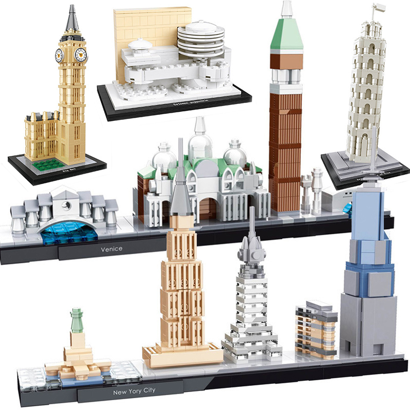 City Architecture Compatible LEPINING New York Berlin Venice Budapest Louvre Pair America Model Buildings Blocks Kits Kids Toys
