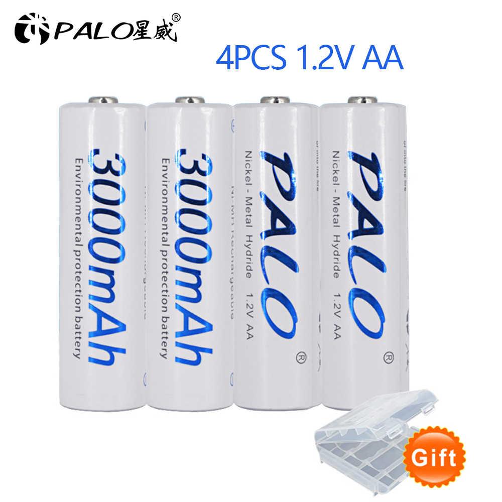 PALO 4 шт. aa 2a AA Аккумуляторная батарея 1,2 в AA 3000 мАч Ni-MH предварительно Заряженная аккумуляторная батарея 2A батарея для микрофона камеры