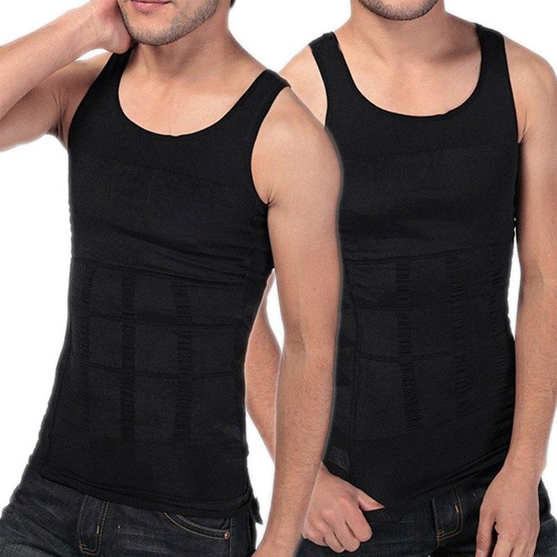 2020 Fashion Solid Slimming Tummy Waist Shirt Vests Men Black White Body Shaper Corset Vest Tops Plus Size XXXL