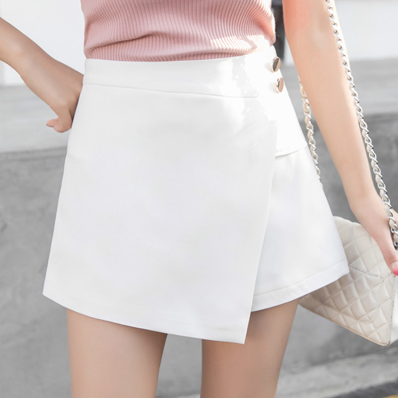 Zipper Fly Back Solid Wrap Skort 2020 White Spring Summer Autumn Shorts Elegant Culottes Mid Waist Women Shorts
