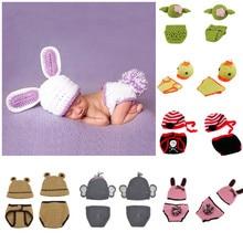 цены на Crochet Baby Beanies Hat Diaper Set Newborn Photo Props Handmade Infant Studios Photography Accessories Baby Shower Gift Clothes  в интернет-магазинах