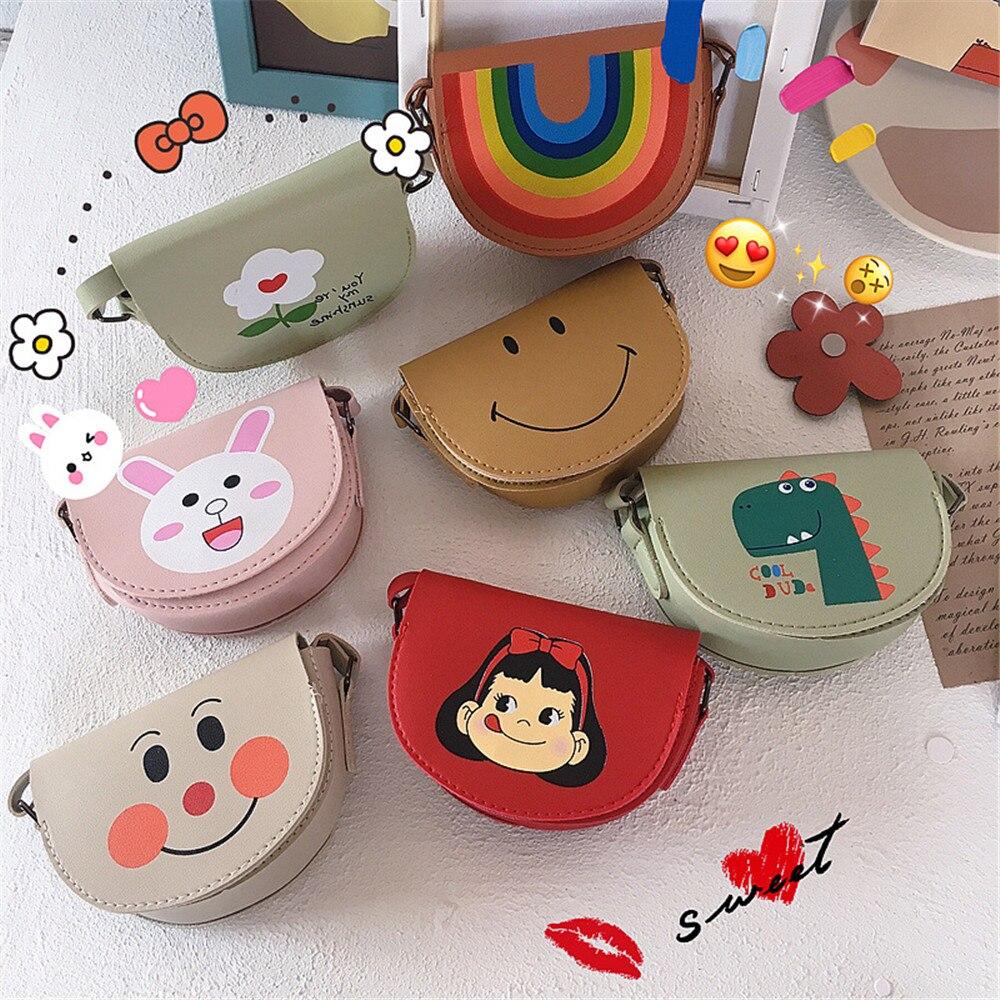 Children Girl Kids PU Coin Purse Bag Hobos Mini Small Cute Cartoon Animal Smile Face Rainbow Solid Korean Accessories-SWD-W19