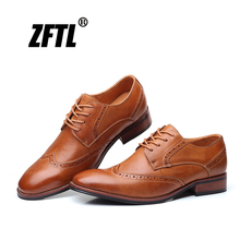 цены ZFTL Men dress shoes Genuine leather man Brogue oxford lace-up shoes big size male formal Business shoes new 2020 derby shoes