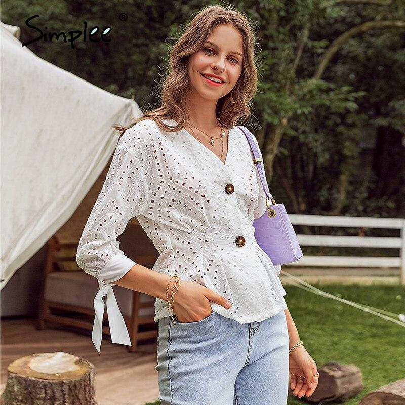 Simplee カジュアルな白色の固体女性ブラウスエレガントなランタンスリーブ v ネック女性シャツ刺繍女性短編作品ブラウス