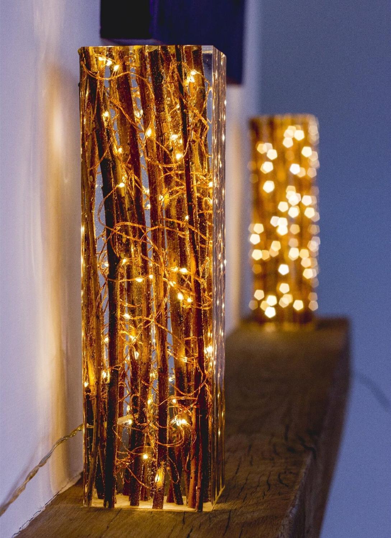 Epoxy Resin Lamp Epoxy Resin Decor, Epoxy Wood Table Lamp, Wooden Resin Lamp Christmas Gift Wedding Gift Home Decor