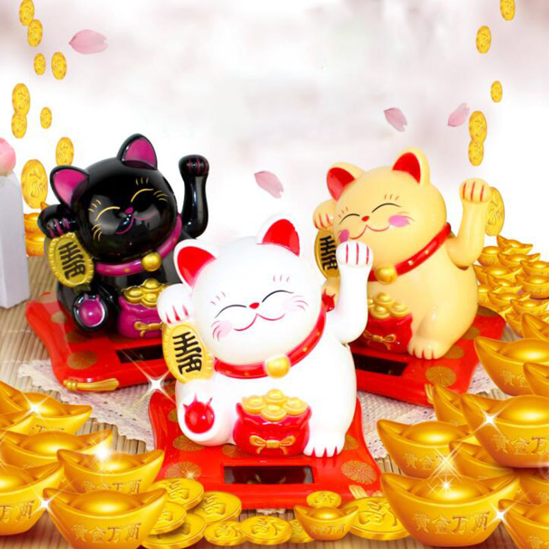 Chinese Lucky Wealth Waving Cat Gold Waving Hand Cat Home Decor Welcome Waving Cat Sculpture Statue Decor Car Ornament