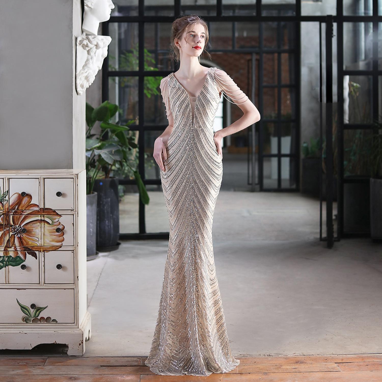New Luxury Evening Dresses V-Neck Mermaid Tassels Sleeve Floor-Length V-Neck Sequin Zipper Back Shiny Formal Prom Party Gown New