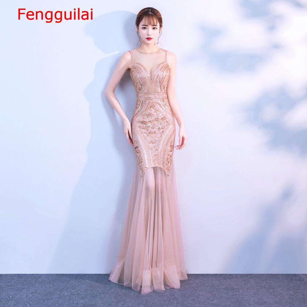 Lantejoulas beading vestidos sereia longo formal vestido de festa 2020 novo estilo - 3
