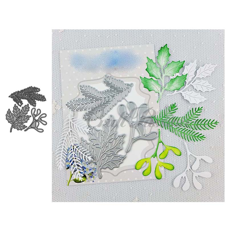 JC Metal Cutting Dies For Scrapbooking Tree Leaves Leaf Branch Stencil Craft Paper Knife Mould Blade Punch Card Making Die Cut