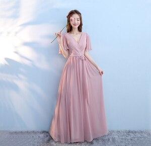 Image 5 - חדש 6 סגנון ורוד סומק שמלת לנשים סקסי שיפון שושבינה שמלות חתונה ללא משענת המפלגה שמלה ארוך גאלה שמלות אלגנטי אפור