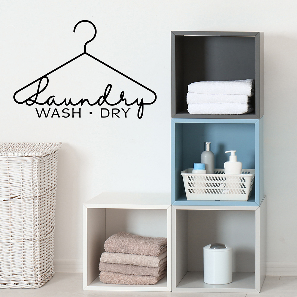 Laundry Wash Dry Wall Decal Laundry Hanger Sign Laundry Room Decor Wall Sticker Vinyl for Laundry Room Laundry Door Decal X219(China)