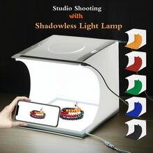 Puluz mini 22.5 led fotografia shadowless inferior luz painel da lâmpada almofada + 2led painéis 20cm lightbox photo studio tiro tenda caixa
