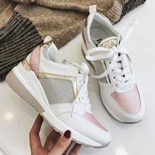 Женские Блестящие Кроссовки на танкетке, Элегантная Модная брендовая повседневная обувь на платформе, Осень зима 2020