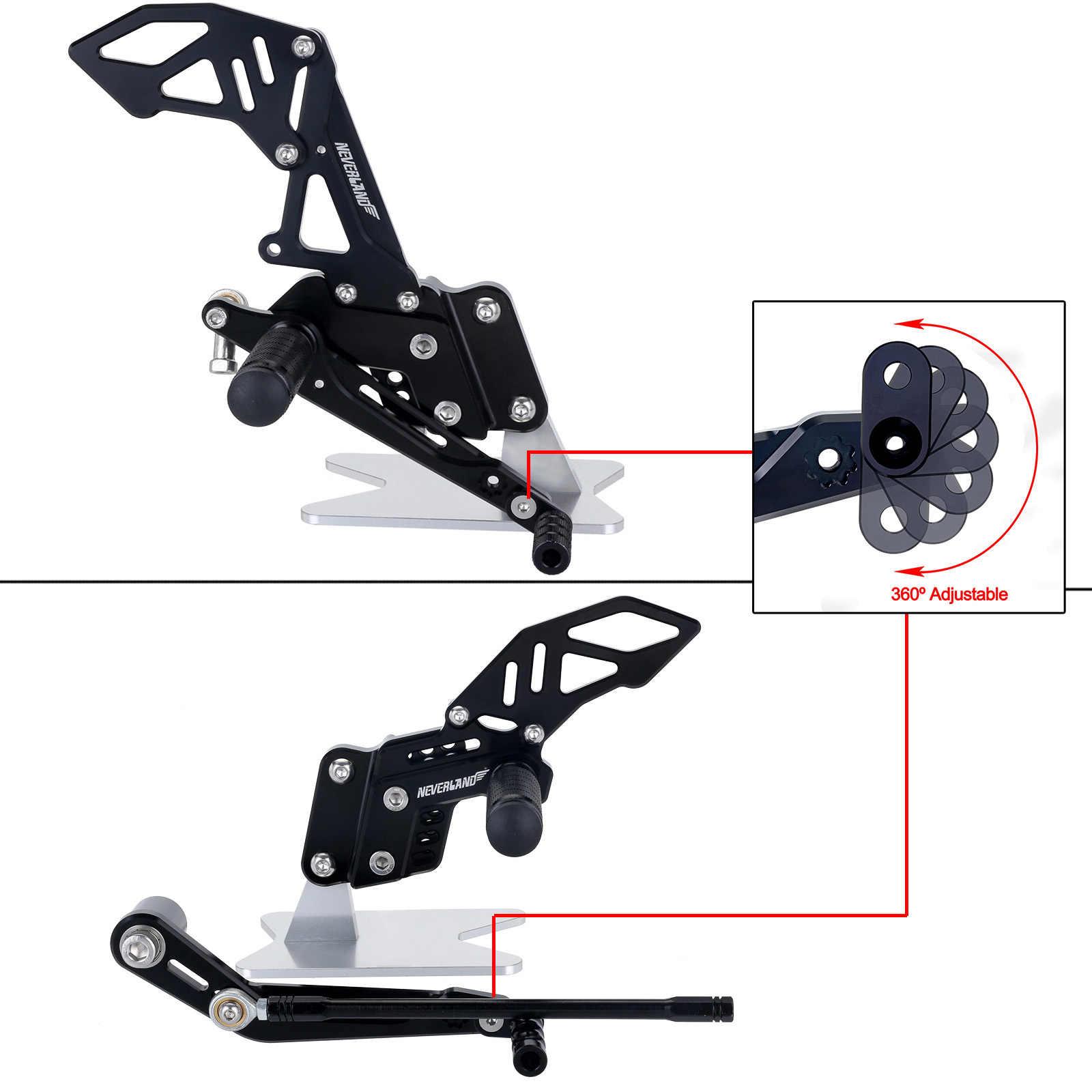 Design preto cnc motocicleta reat apoio para os pés pedal pegs conjunto para suzuki GSX-R 600 750 GSX-R gsxr d40