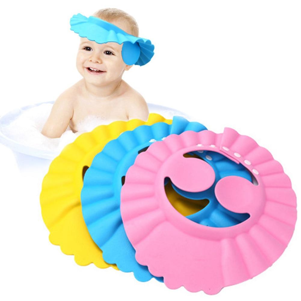 Hot Sale Soft  Adjustable Baby Shampoo Bath Shower Cap Shampooing For Kids Head To Baby Shower Hat Child Bathing Cap Bath Visor