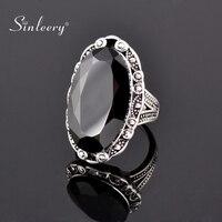 SINLEERY Vintage Großen Schwarzen Oval Stein Ringe Für Frauen Größe 6 7 8 9 10 Antike Silber Farbe Schmuck Anel jz516 SSF