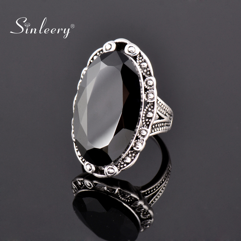 SINLEERY Vintage Big Black Oval Stone Rings For Women Size 6 7 8 9 10 Antique Silver Color Jewelry Anel Jz516 SSF