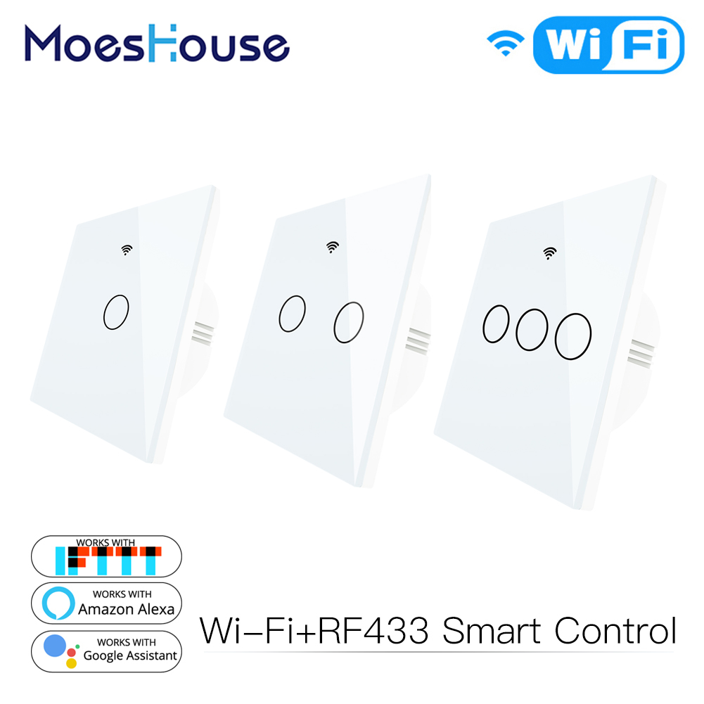 WiFi Smart Switch Remote Control Glass Panel Tuya Light Switch Works With Alexa Echo Google Home RF433 EU Type White Touch