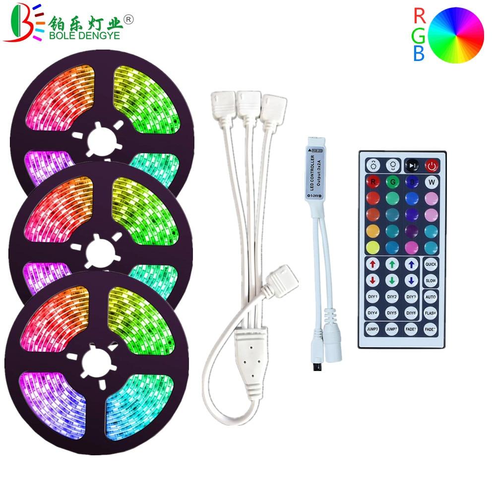 SMD 5050 DC 12V Flexible RGB Strip Light 44key Wireless LED Controller 5M 10M 15M LED Tape Ribbon 30leds/m 60leds/m Rope Light