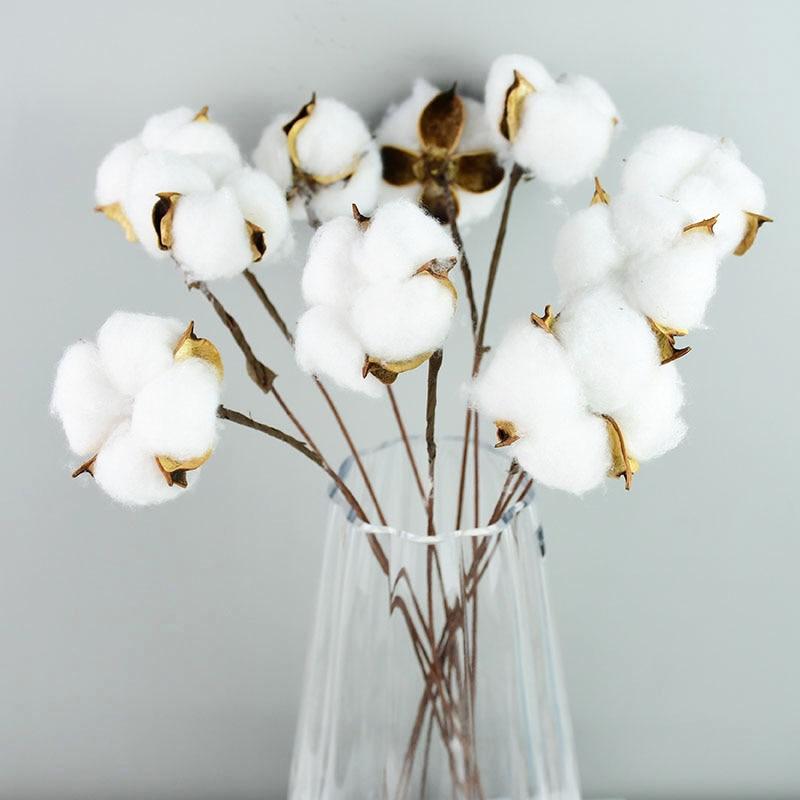 Натуральные сухие хлопковые цветы, белые декоративные искусственные цветы для дома, букет подружки невесты на свадьбу, искусственный белый...