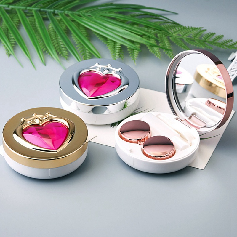 1 Set Heart Pattern Glasses Contact Lenses Box Contact Lens Case For Women Eyes Care Kit Holder Container