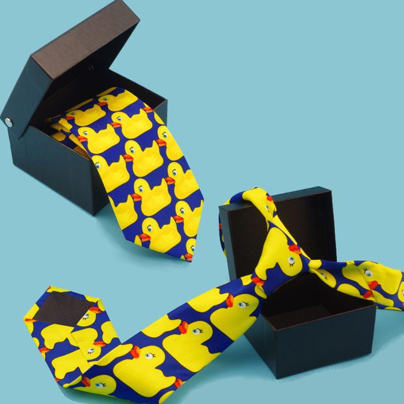 Men Women Funny Yellow Duck Printed Necktie Imitation Silk Cosplay Party Business Suit Ties Neckwear Show Wedding Accessorie