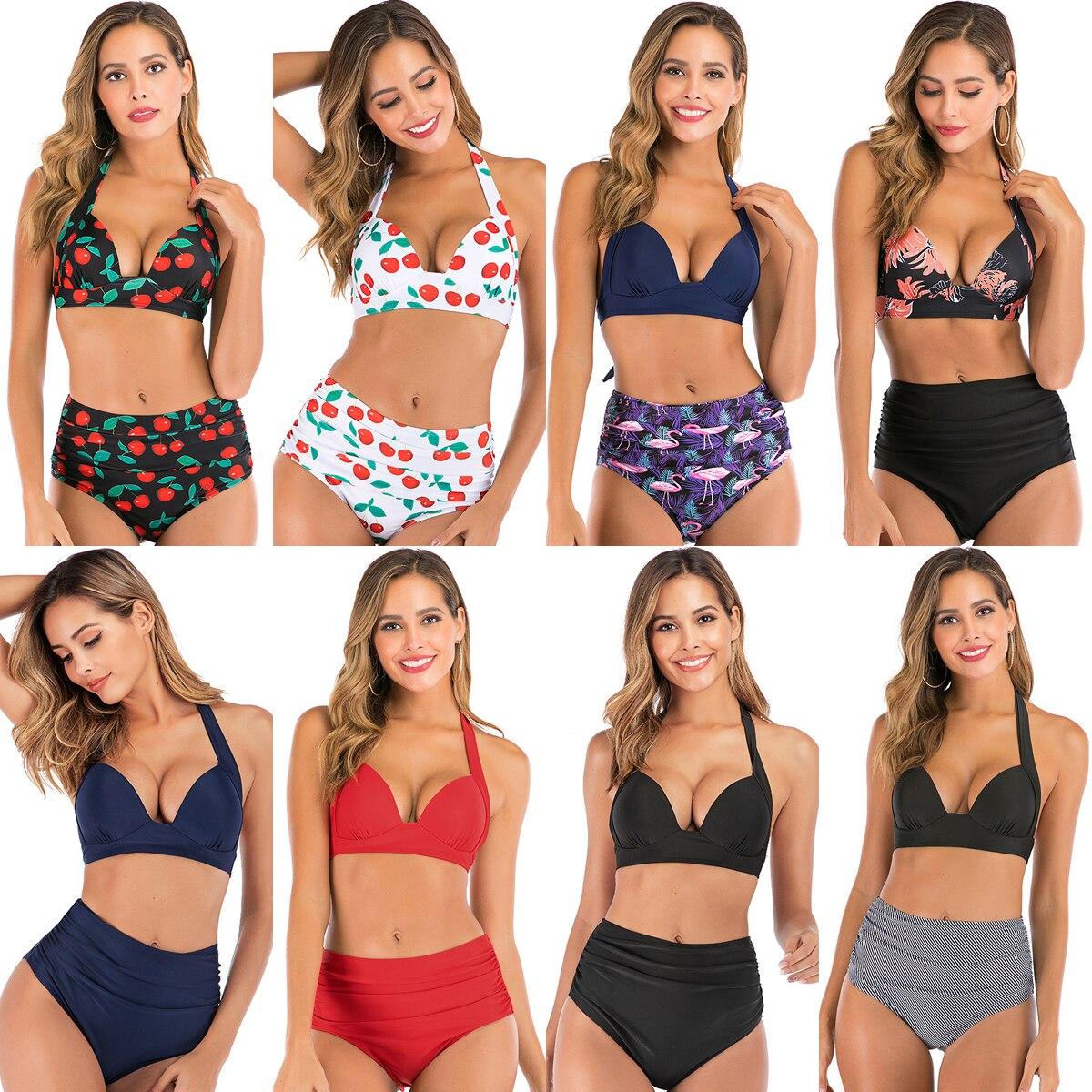 Hirigin Plus Size High Waist Bikini Set Women Swimwear 2020 New Halter Bandage Push Up Padded Swimsuit Women Bathing Suit Summer