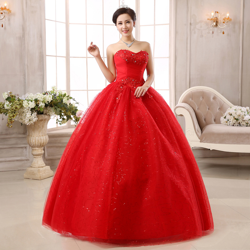 Classic Lace Red Colorful Wedding Dress Sexy Strapless Sleeveless Tulle Sequin Shining Princess Ball Gown Vestido De Noiva L